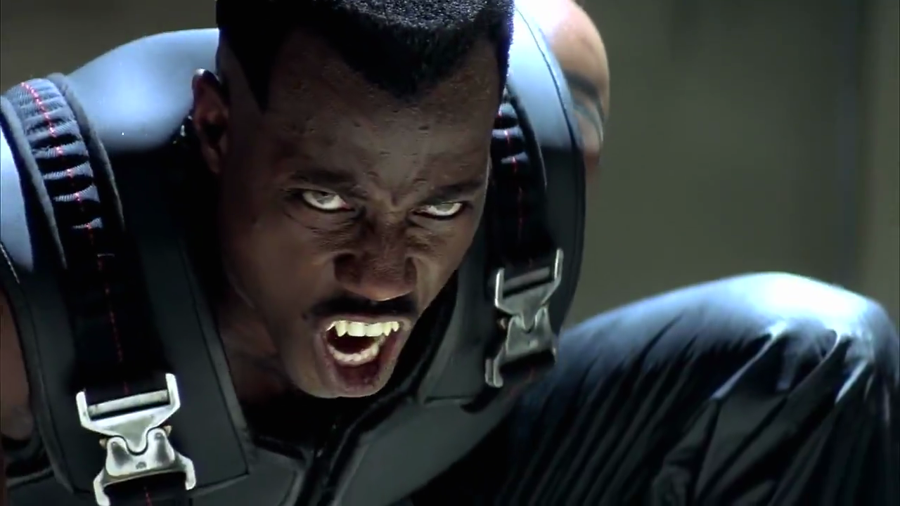 Blade (Wesley Snipes) baring his fangs