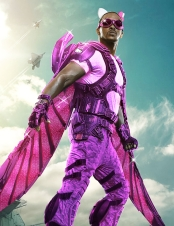 Falcon with purple outfit and pink wings
