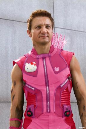 Hawkeye in a pink vest, with pink arrows