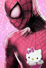 Spider man in pink, with hello kitty logo on chest