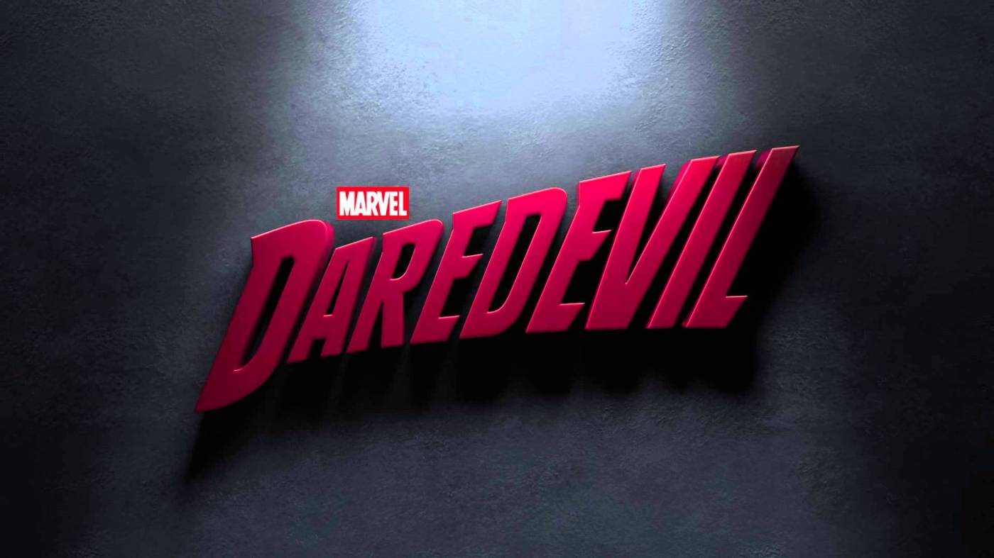 DareDevil logo, red on concrete background