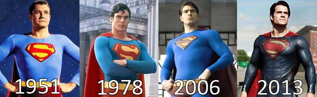 Superman costumes pictured from 50s, 70s, and 2000s