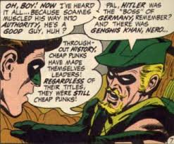 Panel from Green Arrow comic denouncing idea that authority is automatically 'right'