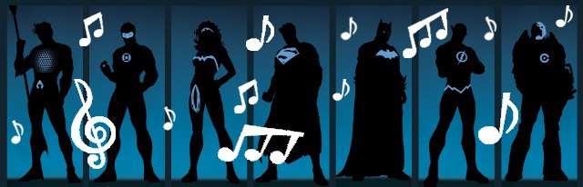 Superheros in silhouette, surrounded by musical notes