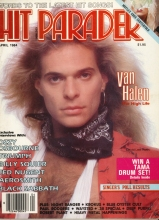 Dave Lee Roth of Van Halen, on the cover of Hit Parade Magazine in 1984, in soft focus, with a wind machine styling