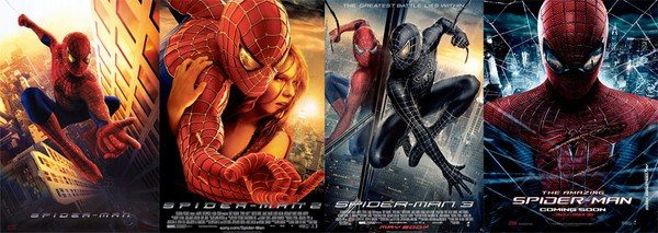 A line up of four Spiderman movie posters, up to the first film starring Andrew Garfield.