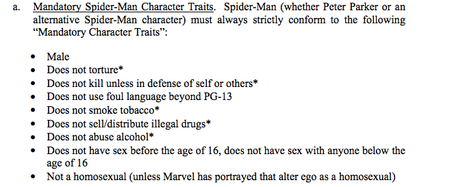 Mandatory Spider-Man Character Traits List, includes male, does not torture, injunctions against dealing drugs and abusing alcohol.