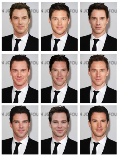 Nne white male faces, photoedited so that the hair and face shape remains the same, but the features are of different actors