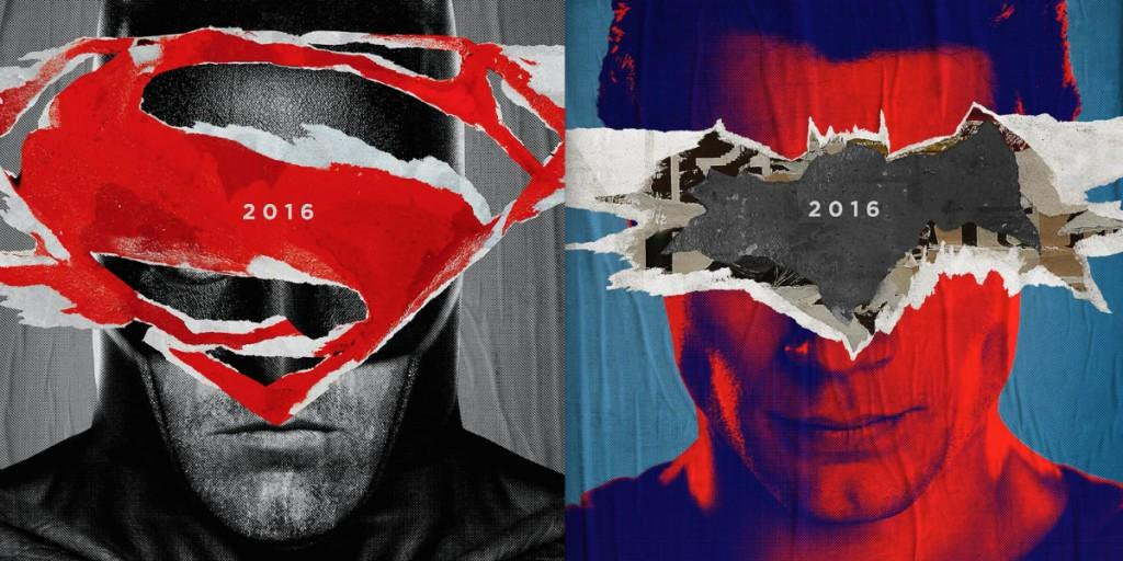 Batman in black and white with the red Superman logo superimposed, next to Superman in red and blue with the black Batman logo superimposed over him.