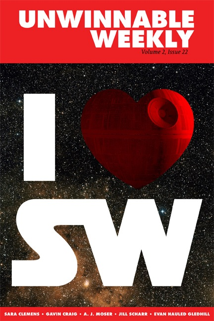 cover of Unwinnable magazine: with red, heart shaoed deathstar image