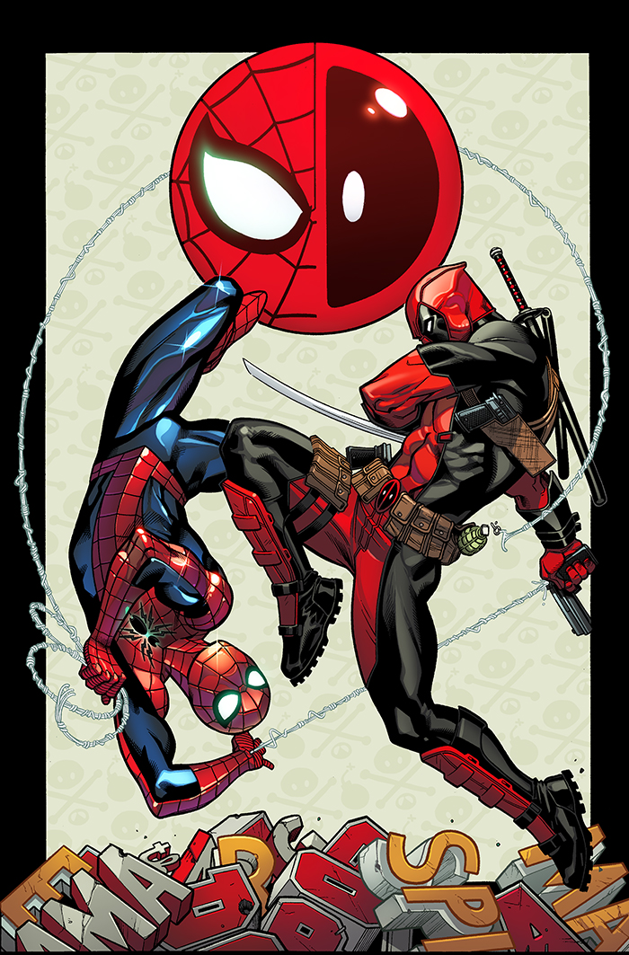 the cover of Spider-Man/Deadpool #1. The heroes, and their logos, are presented as twq halves of a ying-yang symbol.