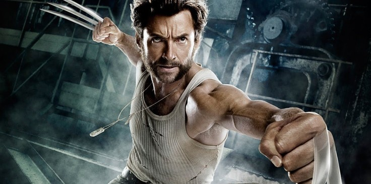 Wolverine in attack pose, claws out, in a vest and dog tags