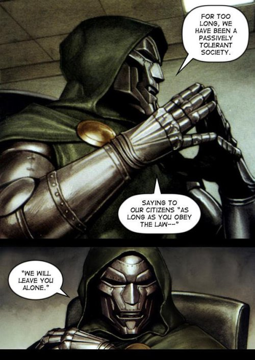Dr Doom delivering an excerpt from a speech by David Cameron on national security in 2015