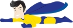 Royalty-free clipart picture of a caucasian male super hero flying with one arm forward, on a white background by Rosie Piter, COLLC0023. This image is protected by copyright law and may not be used without a license. No free use allowed.