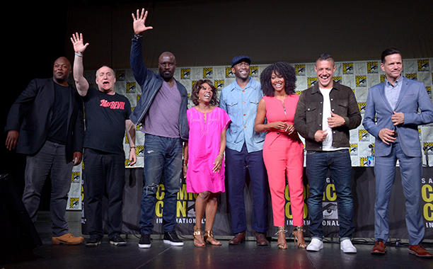 SAN DIEGO, CA - JULY 21: (L-R) Writer/producer Cheo Hodari Coker, moderator Jeph Loeb, and actors Mike Colter, Alfre Woodard, Mahershala Ali, Simone Missick, Theo Rossi, and Frank Whaley attend Netflix/Marvel's 'Luke Cage' panel at Comic-Con International 2016 at San Diego Convention Center on July 21, 2016 in San Diego, California. (Photo by Dave Mangels/Getty Images for Netflix)