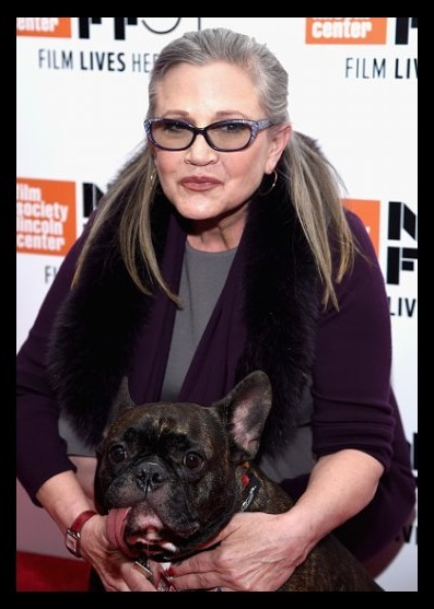 Carrie Fisher, holding Gary her service dog, with a black mourning border.