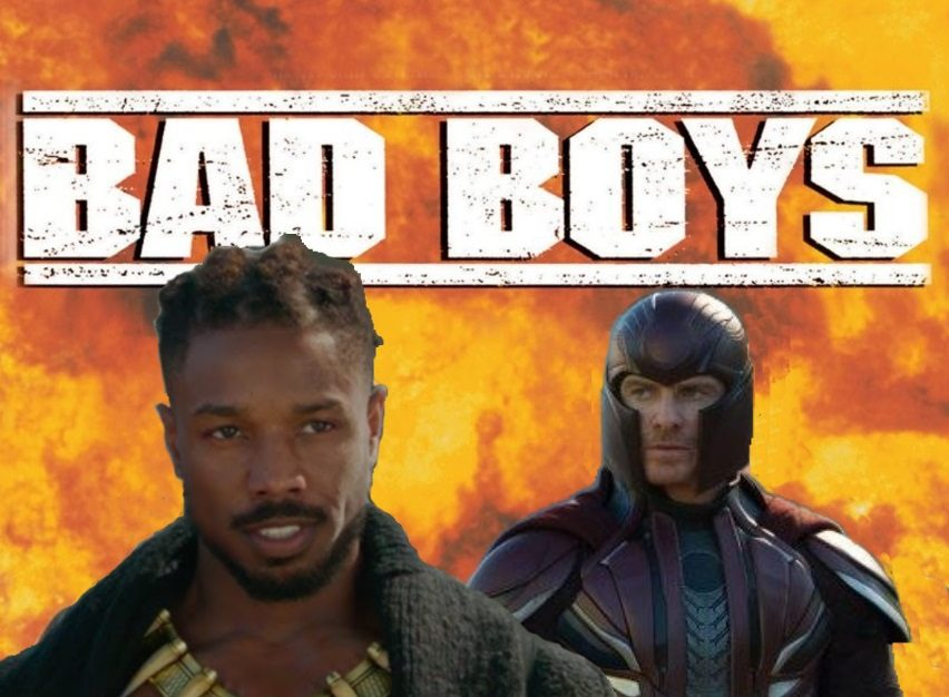 Killmonger and Magneto photoshopped into the poster for Bad Boys the movie.